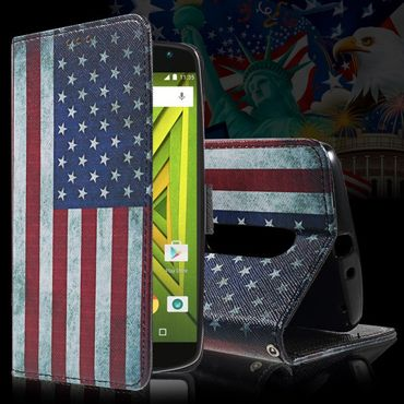 Motorola Moto X Play Leder Cover mit USA Flagge retro-style