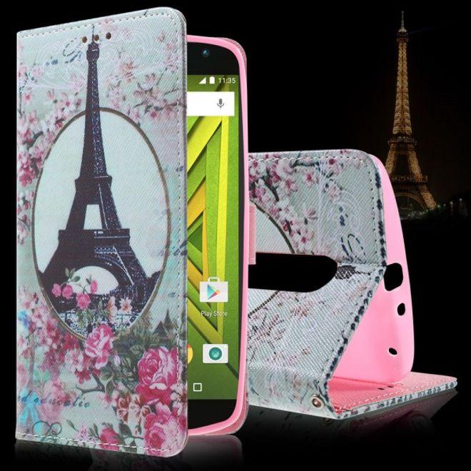 Motorola Moto X Play Leder Cover mit Eiffelturm und Rosen