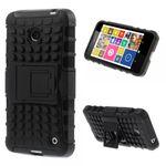 Nokia Lumia 630/630 Dual/635 Robuste Hart Plastik Case Hülle mit Kickstand - schwarz