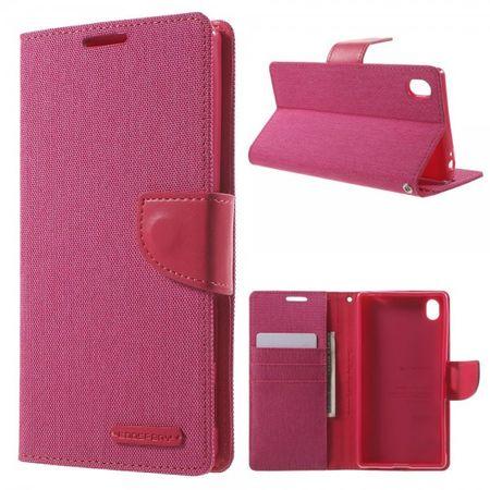 Sony Xperia Z5 Premium/Premium Dual Mercury Goospery Stoffartige Leder Cover Hülle - rosa