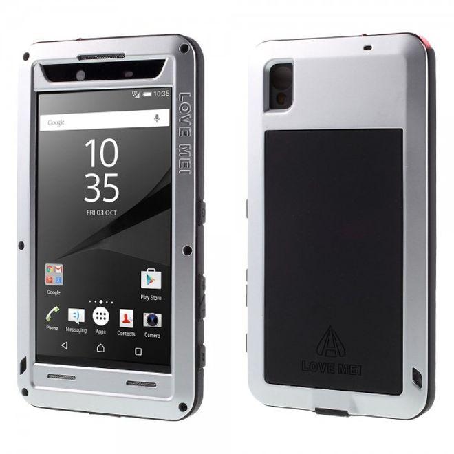 Love Mei Sony Xperia Z5 Premium/Premium Dual LOVE MEI Ultrarobuste Metall, Silikon und gehärtetes Glas Case Hülle - silber