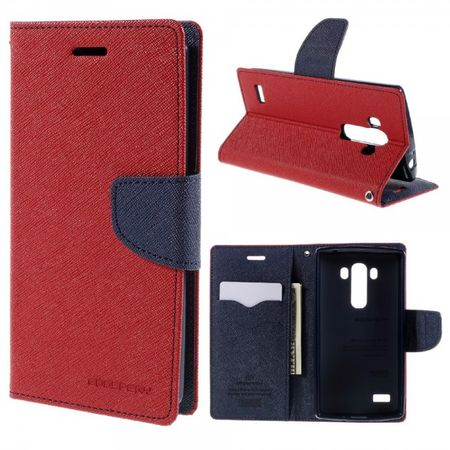 Goospery - LG G4s/G4 Beat Hülle - Handy Bookcover - Fancy Diary Series - rot/navy