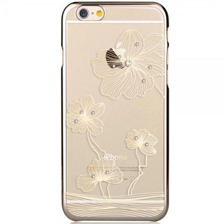 iPhone 6 Plus/6S Plus Hart Plastik Cover Case mit Blumenmuster und Glassteinen - gold