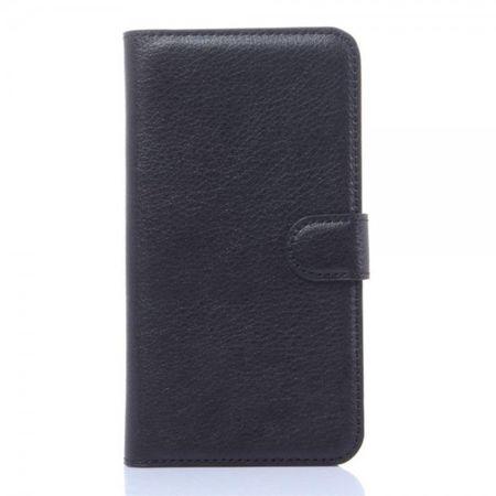 Huawei Honor 4X Schlichtes Leder Handy Case mit Litchitextur und Standfunktion - schwarz