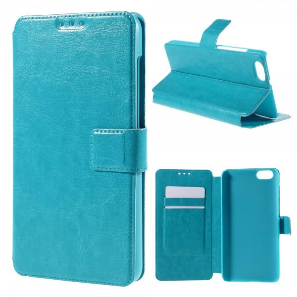 Huawei Honor 4X Schickes Crazy Horse Leder Case Cover mit Kreditkartenslots - blau