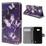 Microsoft Lumia 550 Leder Flip Cover Hülle mit purpurnen Schmetterlingen