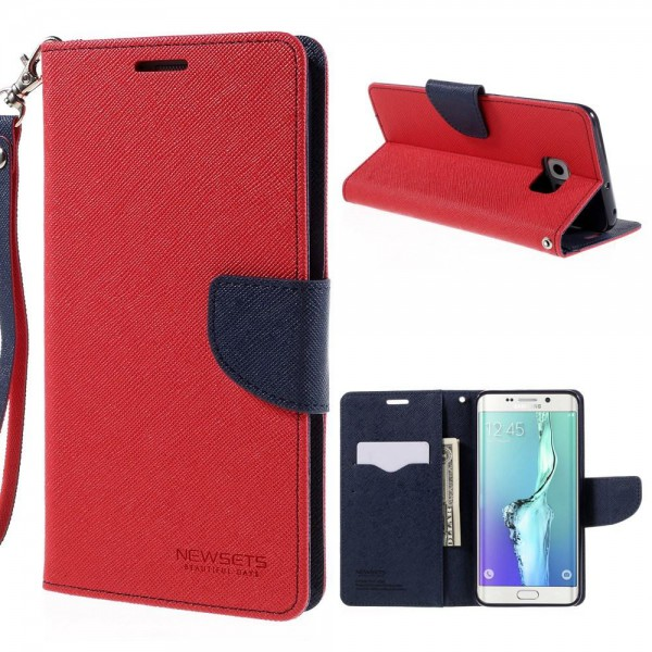 Newsets Samsung Galaxy S6 Edge Plus Newsets Mercury Modisches Leder Case Cover mit Standfunktion - rot