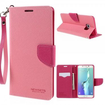 Samsung Galaxy S6 Edge Plus Newsets Mercury Modisches Leder Case Cover mit Standfunktion - pink