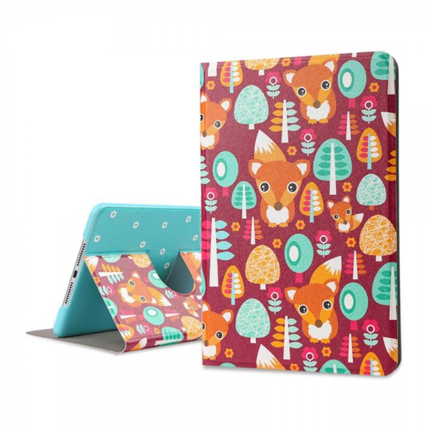 Lofter iPad Mini 4 Lofter Cartoon Series Smart Leder Case Hülle mit kleinen Füchsen