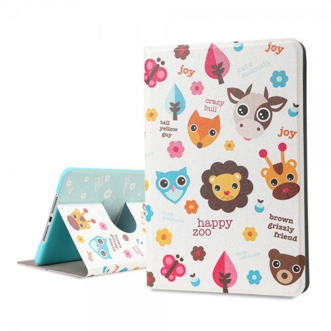 Lofter iPad Mini 4 Lofter Cartoon Series Smart Leder Case Hülle mit glücklichem Zoo