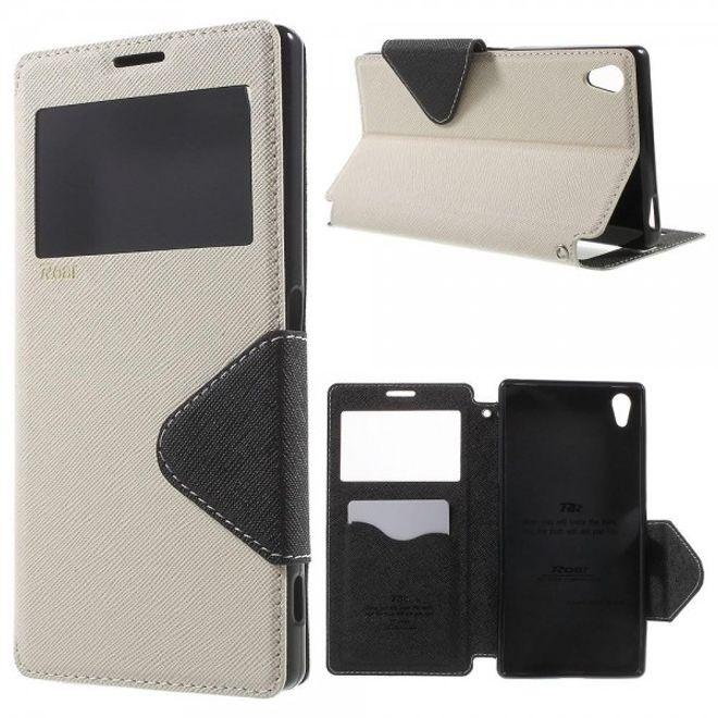 Roar Sony Xperia Z5 Premium/Premium Dual Roar Korea Diary View Series Leder Handy Case mit kleinem Fenster - weiss
