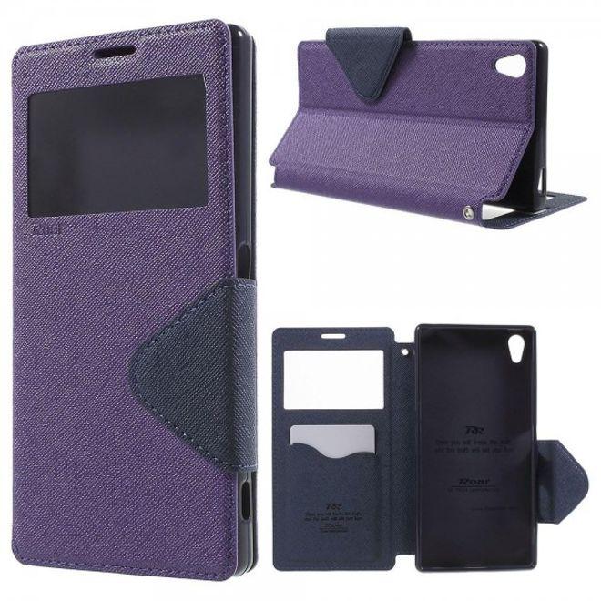 Roar Sony Xperia Z5 Premium/Premium Dual Roar Korea Diary View Series Leder Handy Case mit kleinem Fenster - purpur
