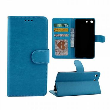 Sony Xperia M5/M5 Dual Crazy Horse Leder Case Tasche mit Standfunktion - blau