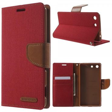Sony Xperia M5/M5 Dual Mercury Goospery Stoffartiges Leder Cover Case mit Standfunktion - rot