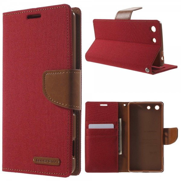 Goospery Sony Xperia M5/M5 Dual Mercury Goospery Stoffartiges Leder Cover Case mit Standfunktion - rot