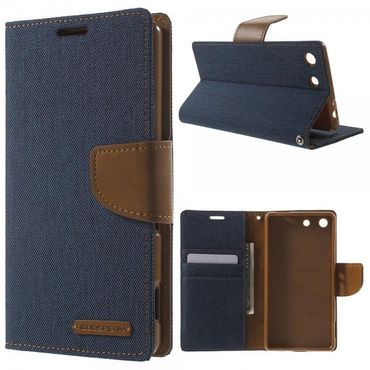 Sony Xperia M5/M5 Dual Mercury Goospery Stoffartiges Leder Cover Case mit Standfunktion - dunkelblau