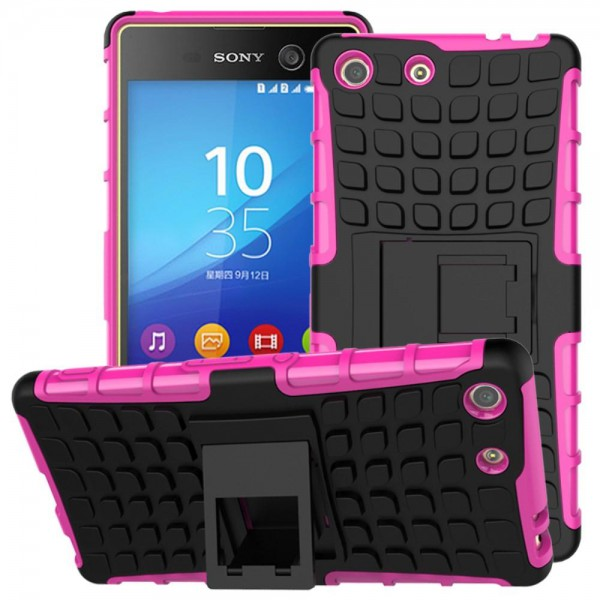 Sony Xperia M5/M5 Dual Abnehmbare, robuste Plastik Case Hülle mit Kickstand - rosa