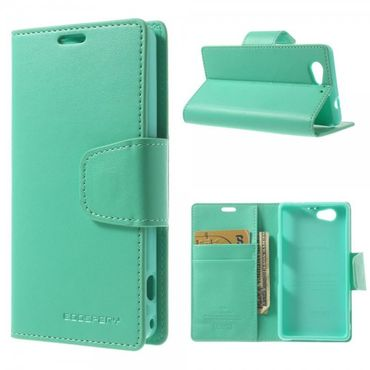 Sony Xperia Z1 Compact Mercury Goospery Sonata Diary Series Leder Cover Case Hülle mit Standfunktion - cyan
