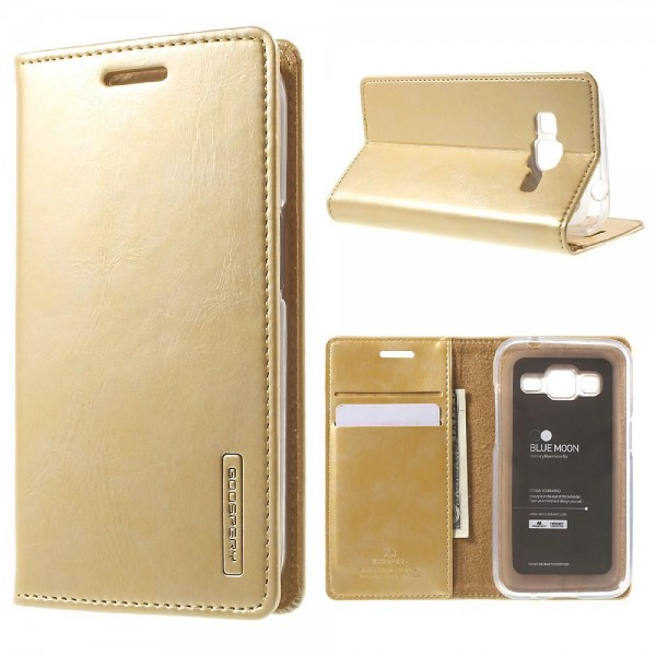Goospery Samsung Galaxy Core Prime Mercury Goospery Blue Moon Leder Handy Cover Hülle - gold