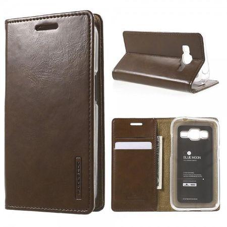 Mercury Goospery - Samsung Galaxy Core Prime Hülle - Handy Bookcover - Bluemoon Flip Series - braun