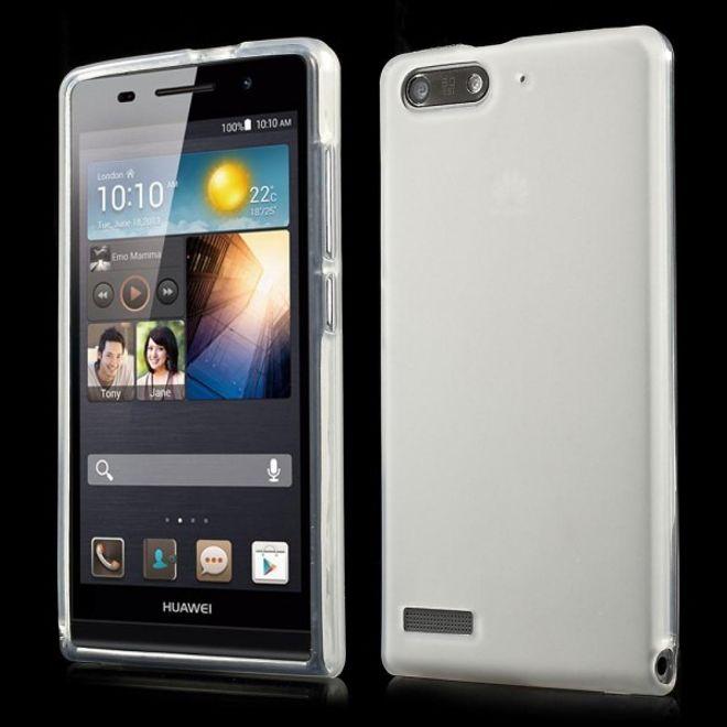 Huawei Ascend G6 Elastische, matte Plastik Cover Hülle - weiss