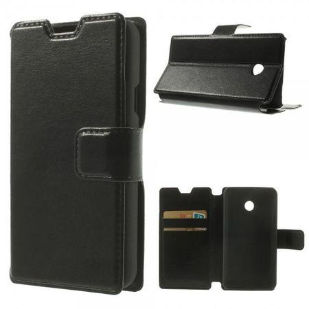 Huawei Ascend Y330 Sanftes Crazy Horse Leder Flip Cover Case mit Kreditkartenslots - schwarz