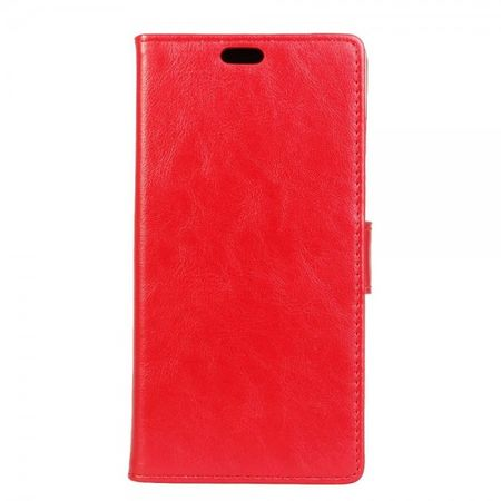 Microsoft Lumia 550 Elegantes Crazy Horse Leder Cover Case mit Standfunktion - rot