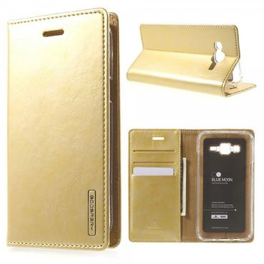 Samsung Galaxy J5 Mercury Goospery Blue Moon Leder Handy Cover Hülle - gold