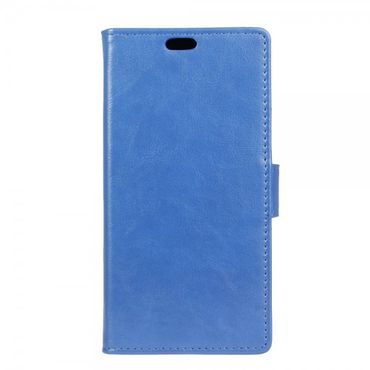 HTC One A9 Crazy Horse Leder Flip Cover Handy Hülle mit Standfunktion - blau