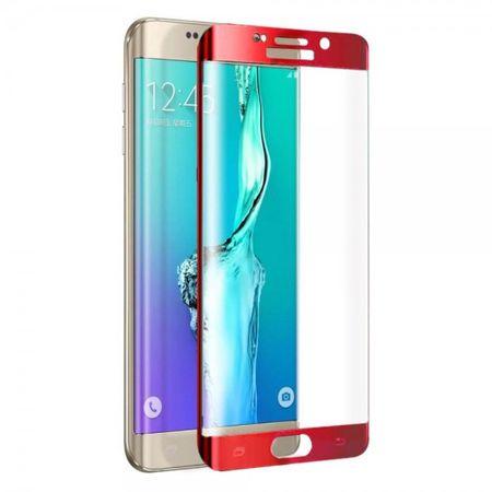 Samsung Galaxy S6 Edge Plus Schutzfolie aus gehärtetem Glas mit abgerundeten Ecken von FEMA - rot