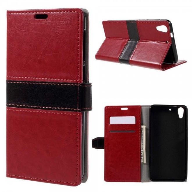 HTC Desire 728 Crazy Horse Leder Case Hülle mit Kontrastfarben - rot