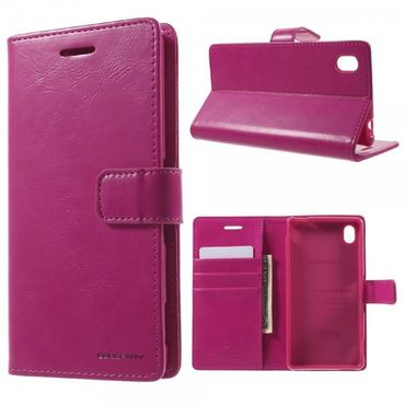 Sony Xperia M4 Aqua Mercury Goospery Blue Moon Series Magnetische Leder Case Handyhülle mit Standfunktion - rosa