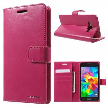Samsung Galaxy Grand Prime Mercury Goospery Blue Moon Series Leder Cover Case mit Standfunktion - rosa