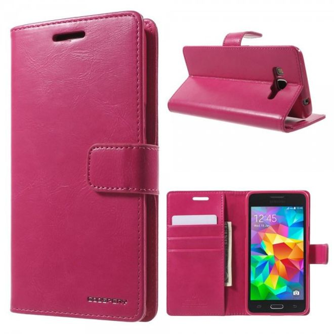 Goospery Samsung Galaxy Grand Prime Mercury Goospery Blue Moon Series Leder Cover Case mit Standfunktion - rosa