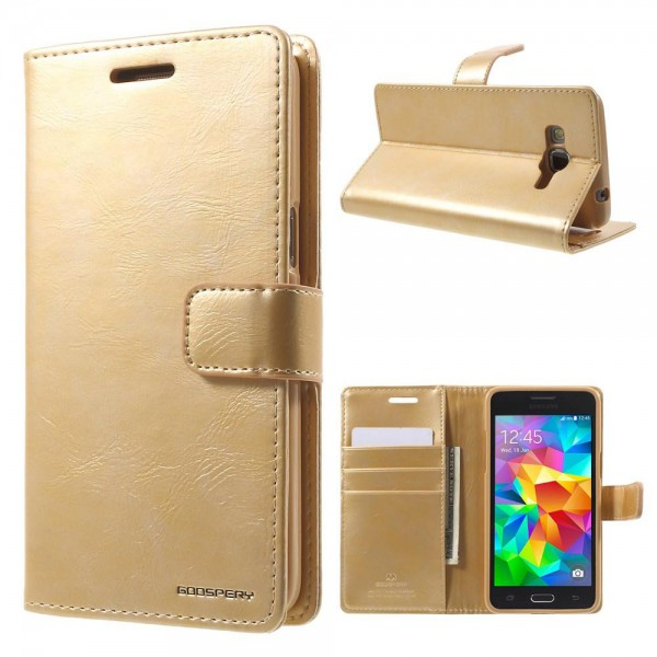 Goospery Samsung Galaxy Grand Prime Mercury Goospery Blue Moon Series Leder Cover Case mit Standfunktion - gold