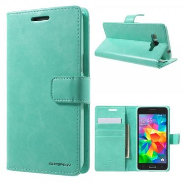 Samsung Galaxy Grand Prime Mercury Goospery Blue Moon Series Leder Cover Case mit Standfunktion - cyan
