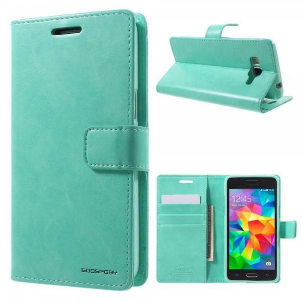 Goospery Samsung Galaxy Grand Prime Mercury Goospery Blue Moon Series Leder Cover Case mit Standfunktion - cyan