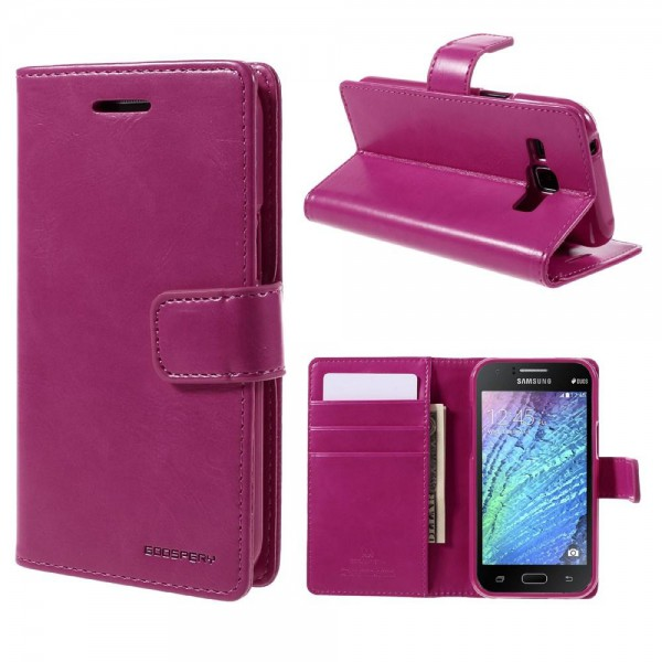 Goospery Samsung Galaxy J1 Mercury Goospery Blue Moon Series Leder Cover Case Hülle mit Standfunktion - rosa