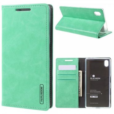 Sony Xperia Z5/Z5 Dual Mercury Goospery Blue Moon Series Leder Cover Case Hülle mit Standfunktion - cyan