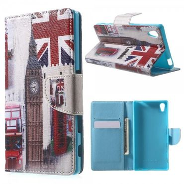 Sony Xperia Z5/Z5 Dual Gemusterte Leder Cover Hülle mit Big Ben und England Flagge