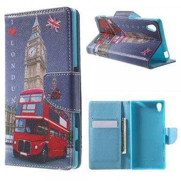 Sony Xperia Z5/Z5 Dual Gemusterte Leder Cover Hülle mit Big Ben und rotem Bus