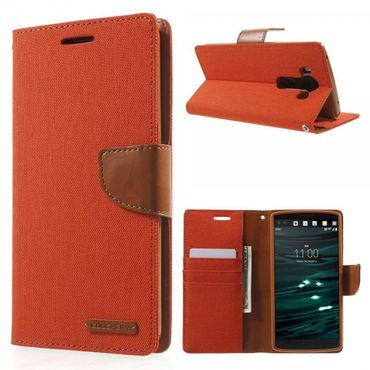 LG V10 Mercury Goospery Stoffartige Leder Cover Case Hülle mit Standfunktion - orange