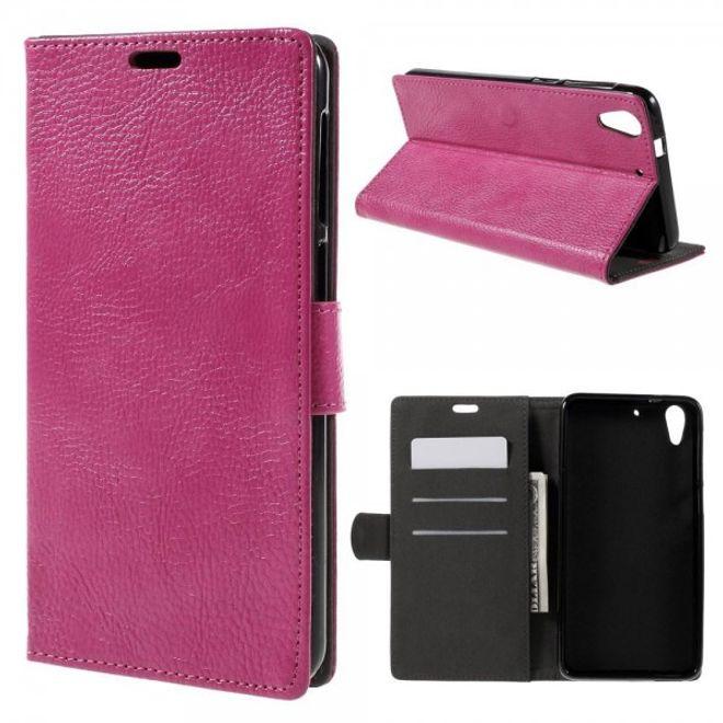 HTC Desire 728 Schicke Leder Flip Case Handyhülle mit Litchitextur und Standfunktion - rosa
