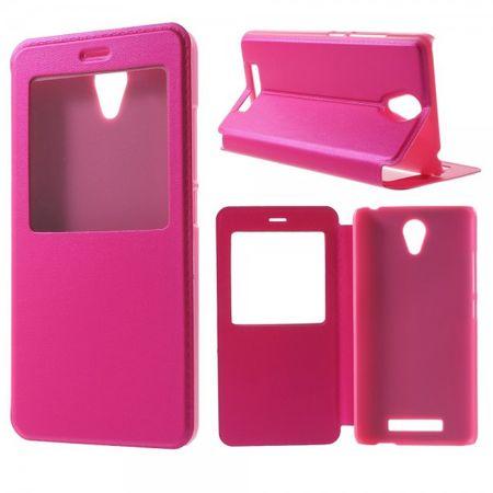 Xiaomi Redmi Note 2 Schlichte Leder Case Handyhülle mit mittelgrossem Fenster und Standfunktion - rosa
