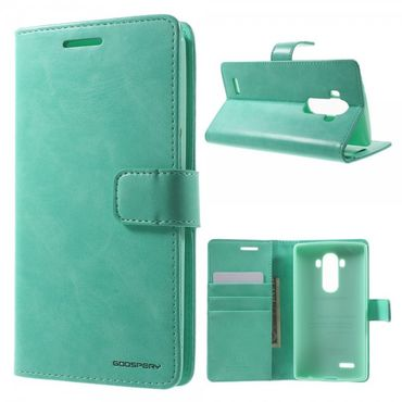 LG G4 Mercury Goospery Blue Moon Series Leder Flip Cover Case Hülle mit Standfunktion - cyan