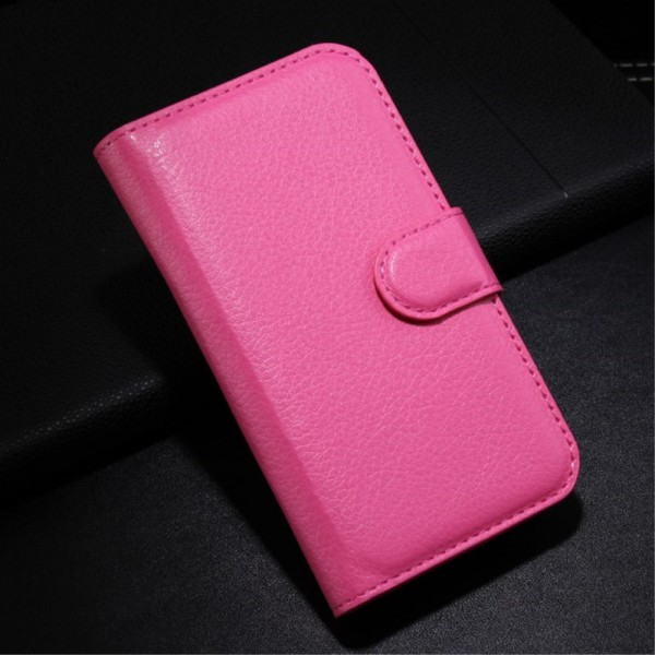Alcatel One Touch Pop C3 Elegante Leder Case Hülle mit Standfunktion und Litchitextur - rosa