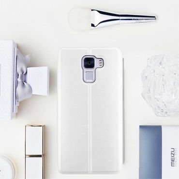 Huawei Honor 7 MOFI Vintage Series Klassische Leder Smart Cover Hülle mit Standfunktion - weiss