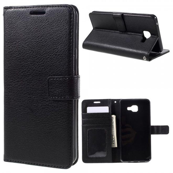 Samsung Galaxy A7 (2016 Edition) Klassische Leder Case Hülle mit Litchitextur und Standfunktion - schwarz