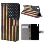 Huawei Y6 Scale Leder Cover Case Hülle mit Kreditkartenslots und USA Flagge retro-style