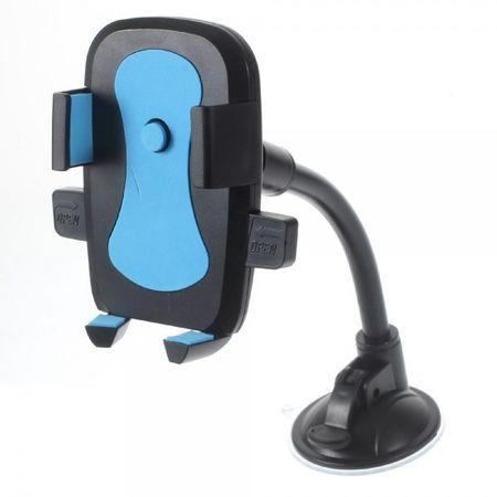 Rotierbare, zweifarbige Autohalterung mit langem Hals und Saugnapf für Smartphones mit einer Breite von 58-81mm - blau